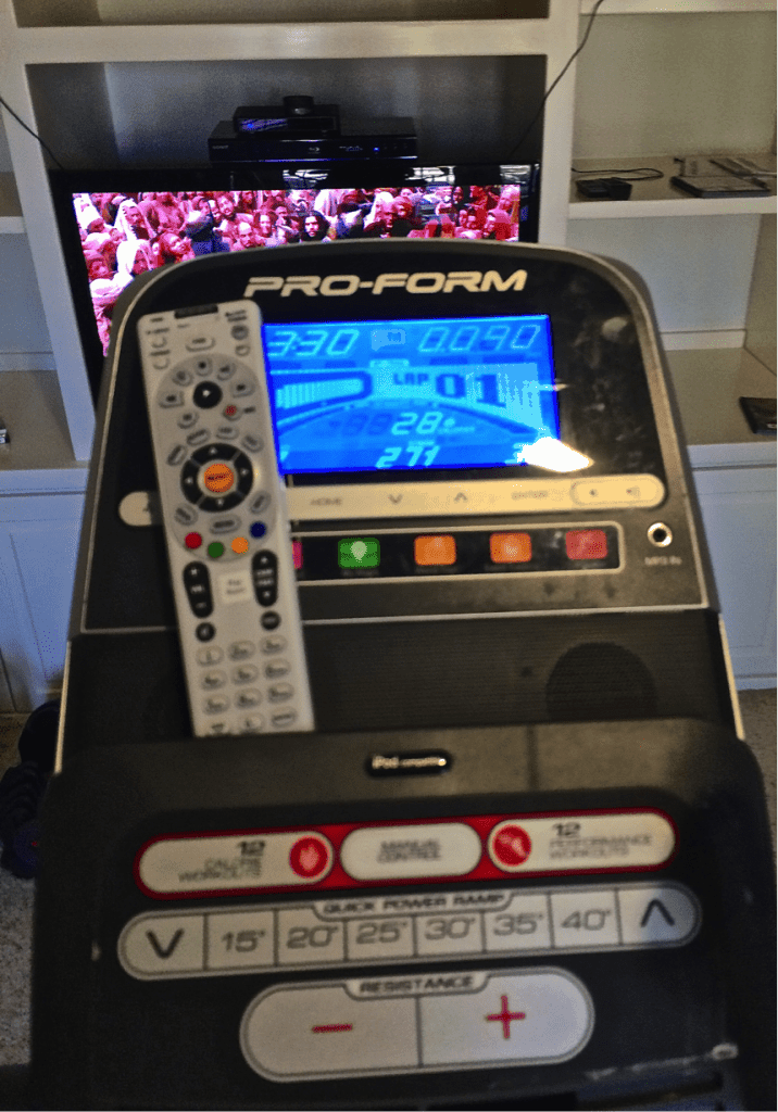 Screen on workout machine