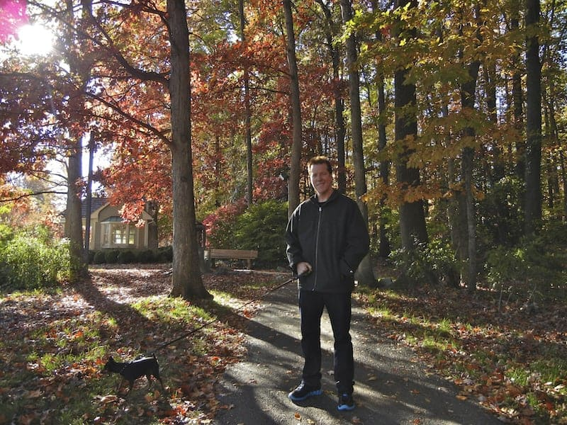 Out for a walk with Roadie in Fairfax, VA – Fall of 2011
