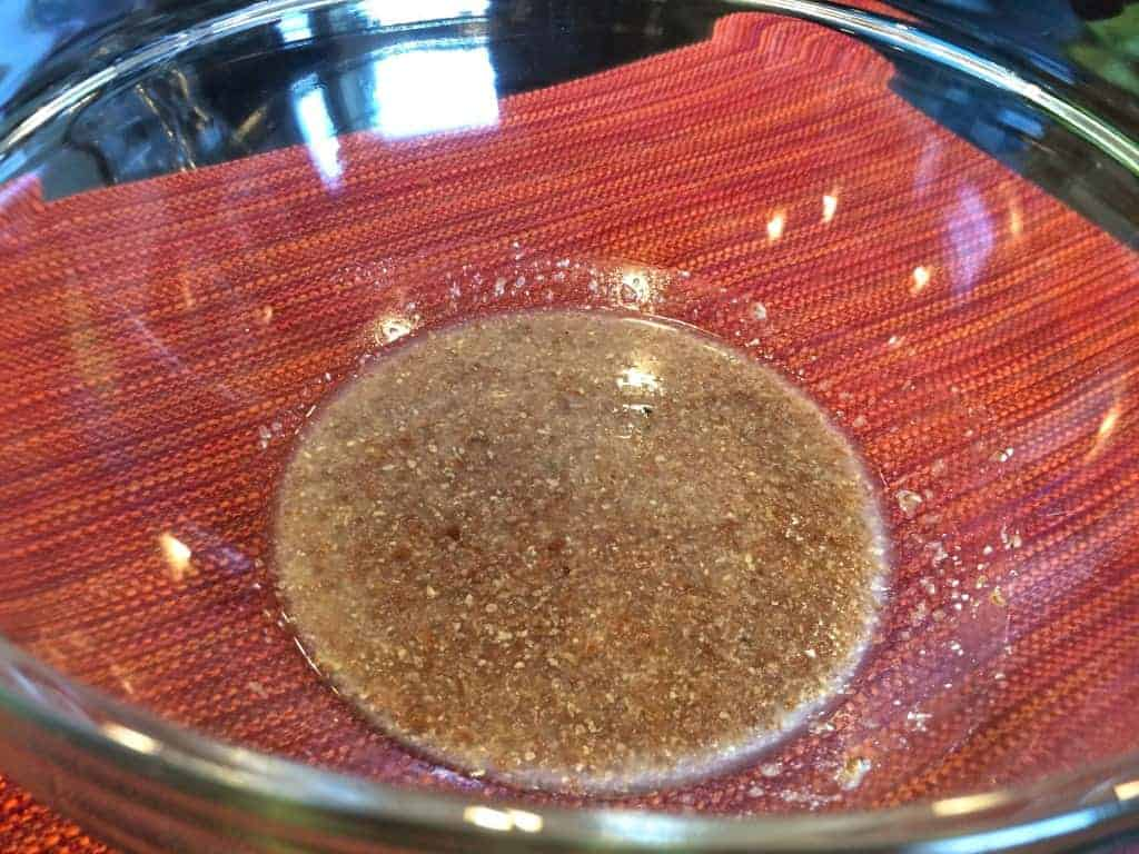 Water and flaxseed mixture in a mixing bowl