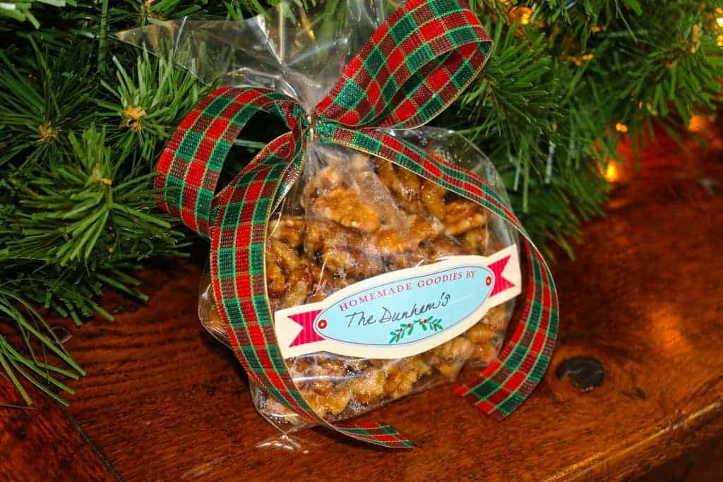 Sweet and salty maple walnuts gift wrapped with a bow