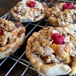 Vegan peach raspberry breakfast pies