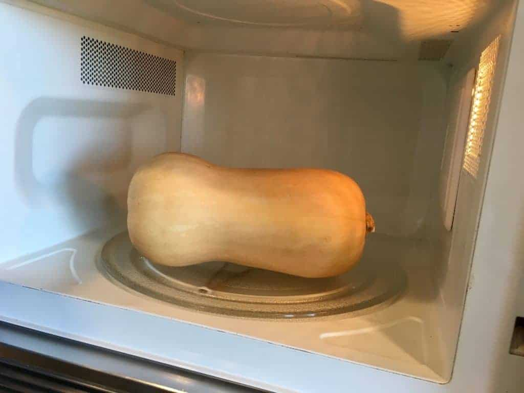 Whole butternut squash in the microwave