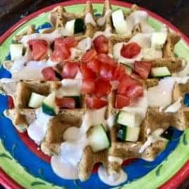 Vegan Savory Falafel Waffles with Tahini Sauce (Gluten Free)