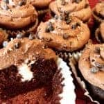 Vegan and Gluten Free Crème-Filled Chocolate Cupcakes with Salted Double Chocolate Chip Frosting