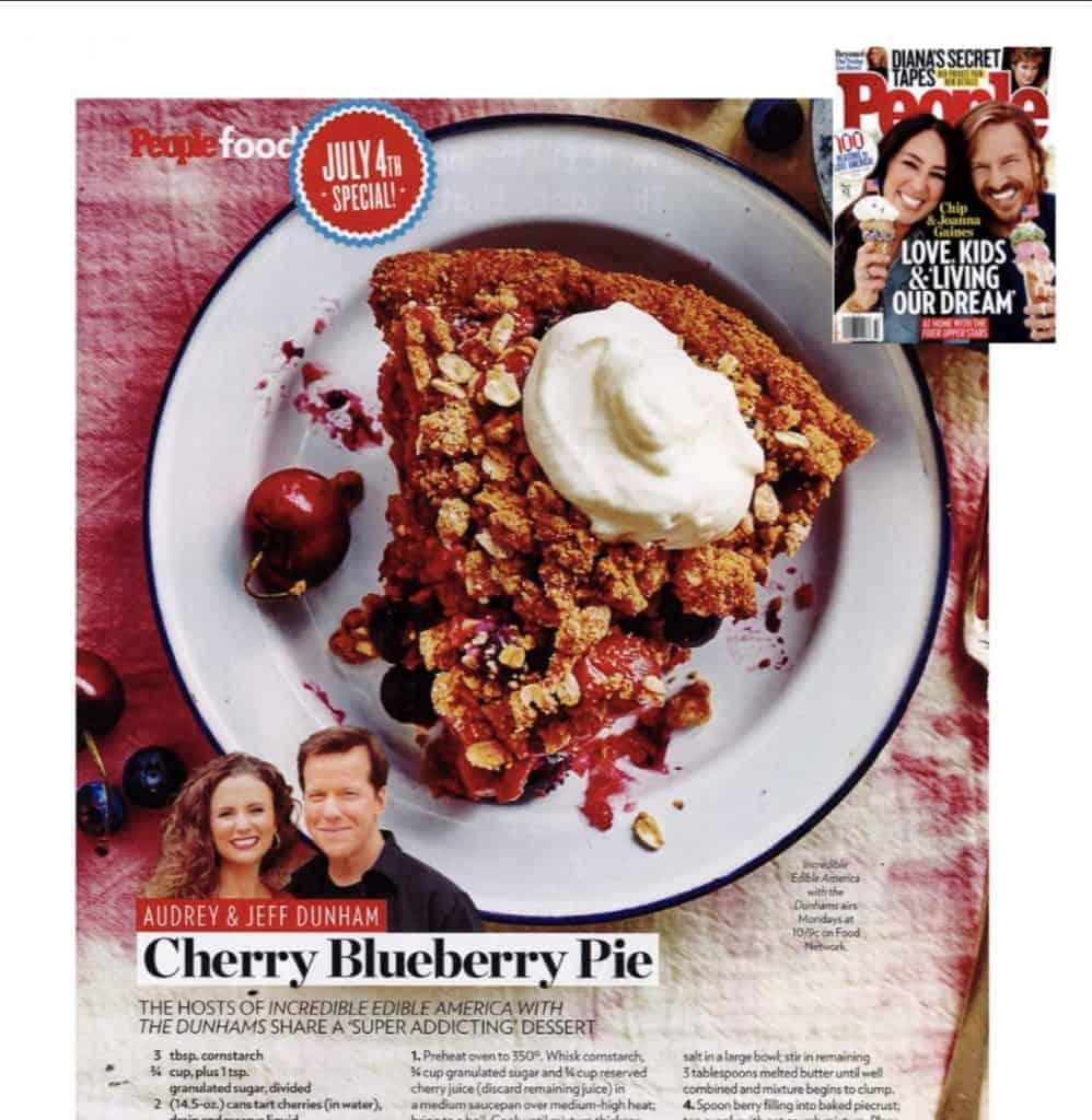 Vegan cherry blueberry pie in People Magazine