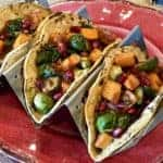 Roasted Vegetable Tacos with Chipotle Pomegranate Sauce