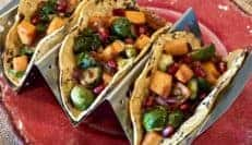 Vegan Roasted Vegetable Tacos with Chipotle Pomegranate Sauce