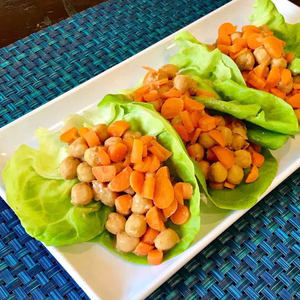 Three 5-Ingredient Peanut Chickpea Lettuce Wraps on a plate