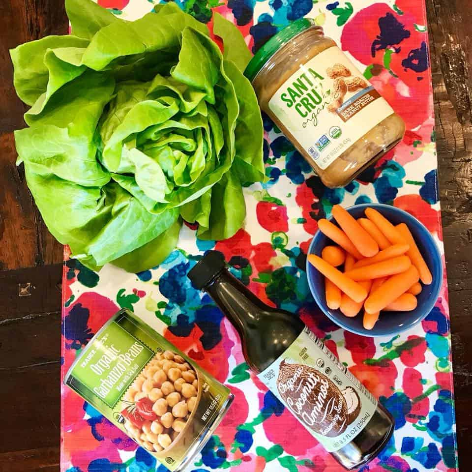 All of the ingredients for 5-Ingredient Peanut Chickpea Lettuce Wraps