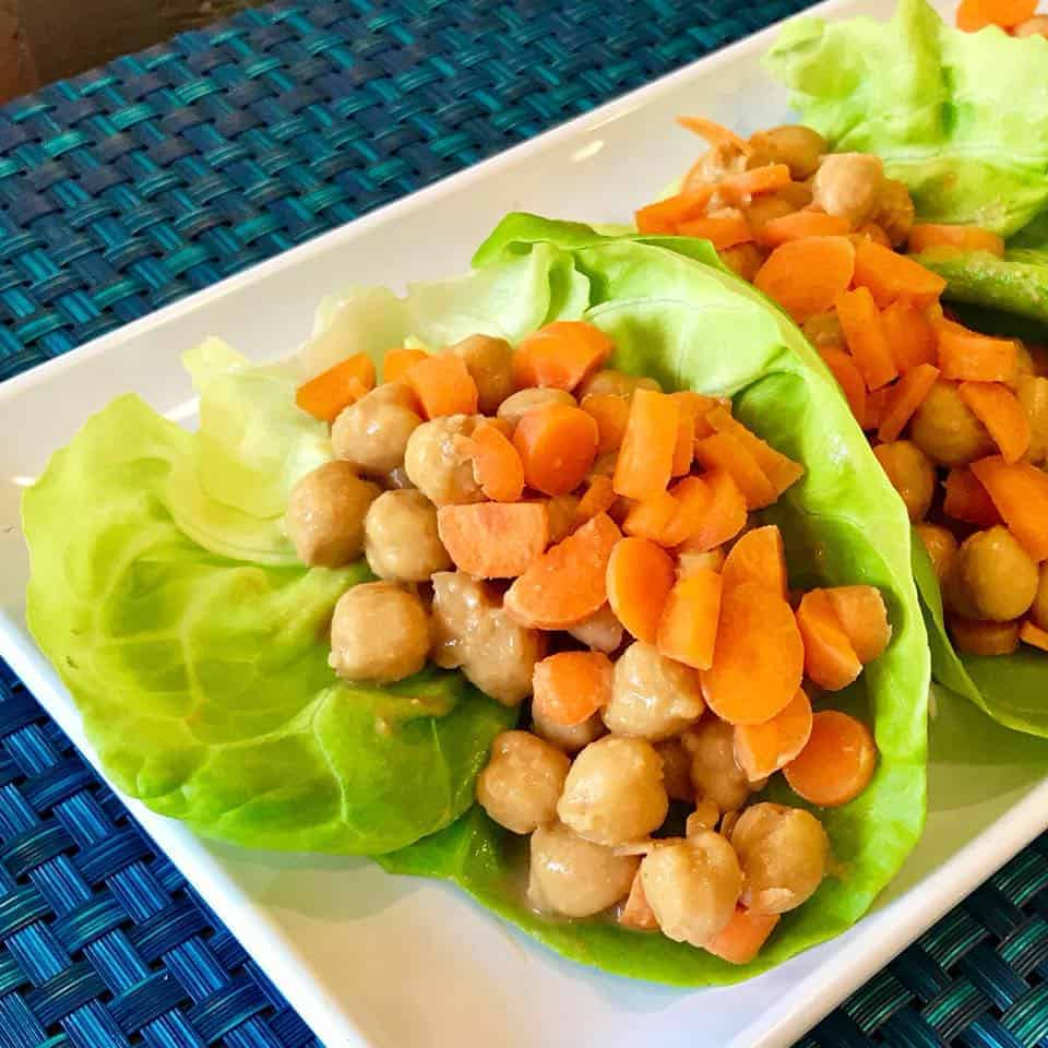 5-Ingredient Peanut Chickpea Lettuce Wraps on a plate
