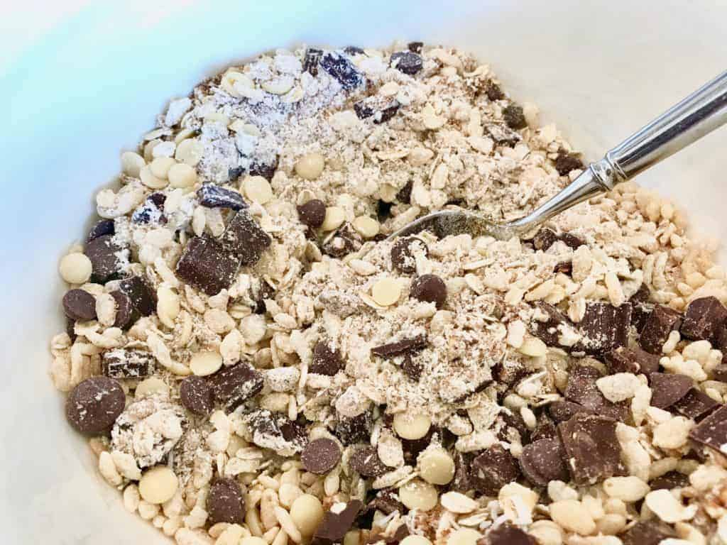 Monster cookie dry ingredients mixed in a bowl