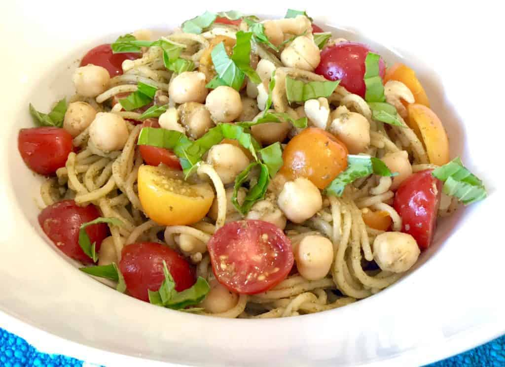 5-Ingredient Chickpea Pesto Pasta in a bowl