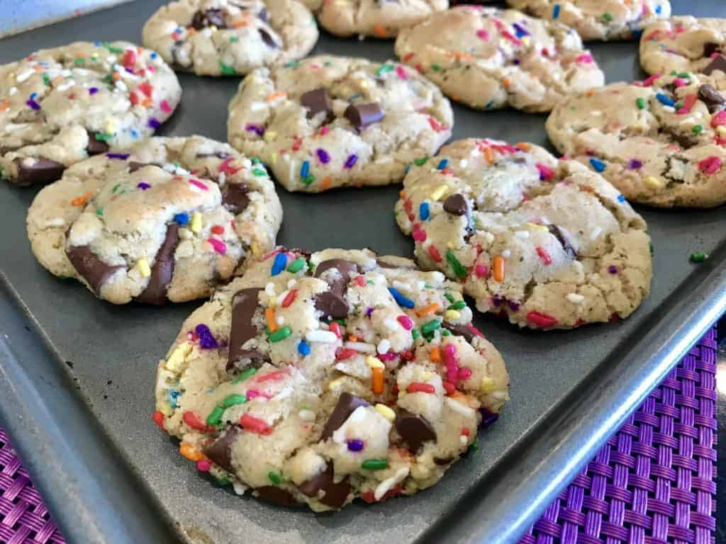 Vegan Funfetti Chocolate Chip Cookies on a baking sheet