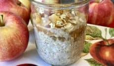 full shot of mason jar with apple crisp overnight oats