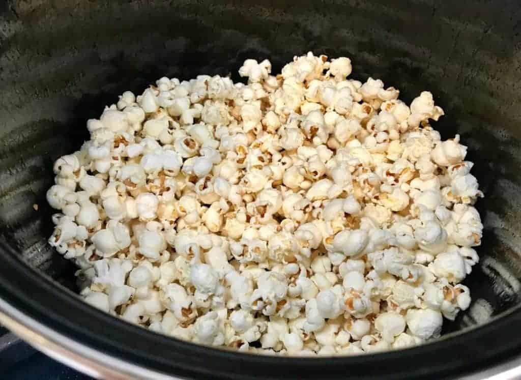 Plain popped popcorn in a pot on a stove