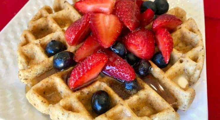 Mixed Berry Oatmeal Waffles with Cinnamon Syrup (Vegan and Gluten Free)
