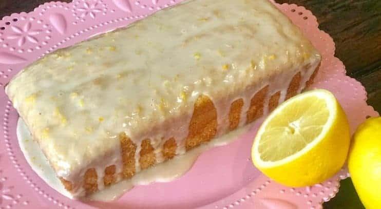 Vegan Pound Cake with Fresh Lemon Glaze on a plate