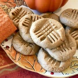 Vegan pumpkin spiced peanut butter cookies on a plate