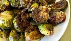 Brussels sprouts after being tossed with balsamic glaze