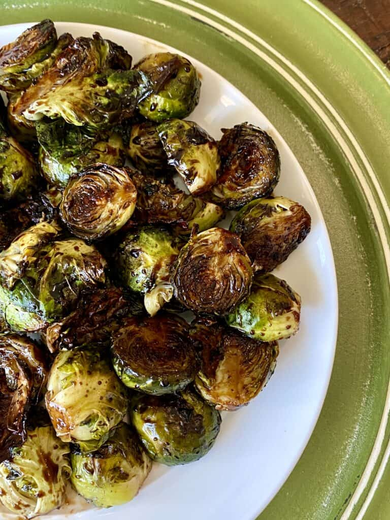 Crispy and crunch glazed Brussels sprouts on a plate