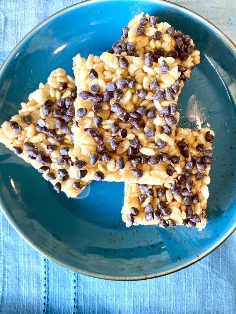 Vegan Rice Krispie Treats with Chocolate Chips on a plate