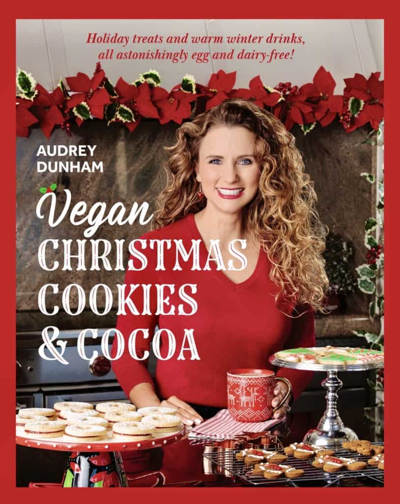 Cover of the cookbook, Vegan Christmas Cookies and cocoa
